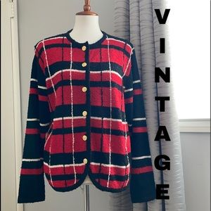 Vintage plaid textured cardigan